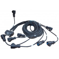 HARTING male naar 8 x Schuko 10/16 A contrastekker via 2,5² kabel, lengte 50 cm / 1M50 / 2M50, enz
