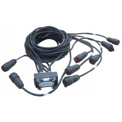 HARTING male naar 8 x CEE 16 A female via 2,5² kabel, lengte 50 cm, 1M50, 2M50 enz