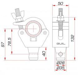 Half coupler met half connector voor truss