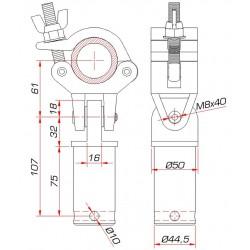 Demi-collier avec axe de départ et tube 50 mm